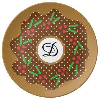 Het Rood van de Doughnut van Kerstmis van de hulst Porseleinen Bord