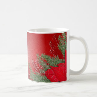Het Rood van de Poinsettia van Kerstmis Basic Witte Mok
