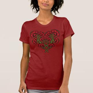 Het Rood van het Hart van de Bloem van de T Shirt