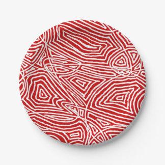 Het Rood van Scribbleprints Papieren Bordje