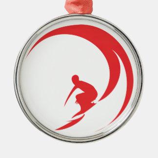 Het Rood van Surfer Zilverkleurig Rond Ornament