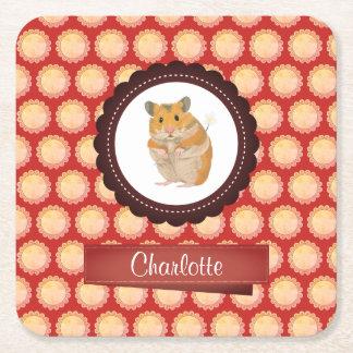 Het rood voegt Uw Hamster van de Naam toe Vierkante Onderzetter