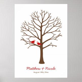 Het roodbruine Huwelijk van de Boom van de Vingera Poster