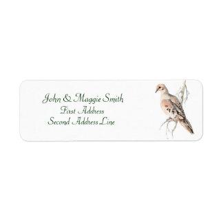 Het rouwen de duif van de Schildpad van de Duif, Etiket