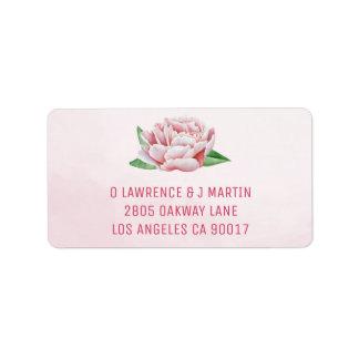 Het roze Adresetiket van de Pioen Etiket