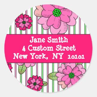 Het roze Adresetiket van het Ruikertje Ronde Sticker