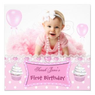 Het Roze Baby Cupcakes van het eerste Meisje van Kaart