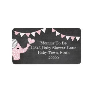 Het roze Baby shower van de Olifant Etiket