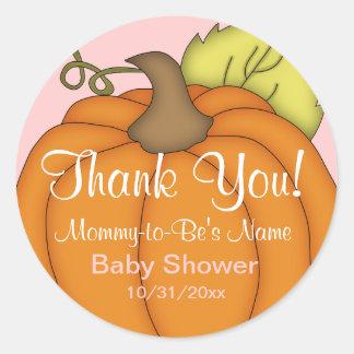 Het roze Baby shower van de Pompoen dankt u Ronde Sticker