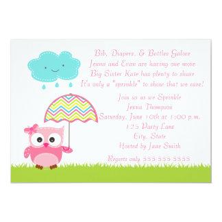 Het roze Baby van de Uil bestrooit Uitnodiging