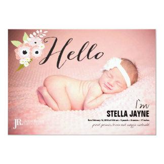 Het roze Baby van Hello van Bloemen   Aankondiging