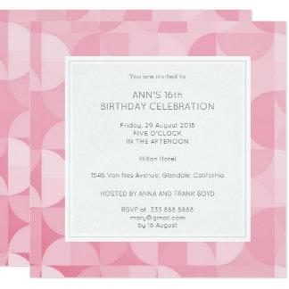 Het roze Blauw van de Partij van de Verjaardag van 13,3x13,3 Vierkante Uitnodiging Kaart