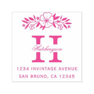 Het roze Bloemen & Adres van de Terugkeer van het Zelfinktende Stempel