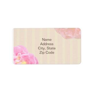 Het roze BloemenEtiket van het Adres Nicole Etiket