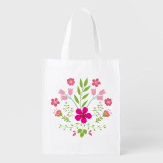 Het roze BloemenPatroon van Bloemen Boodschappentas