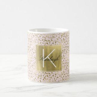 Het roze bloost het Gouden Dierlijke Monogram van Koffiemok