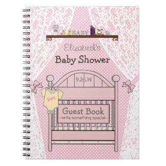Het roze Boek van de Gast van het Baby shower van Ringband Notitieboeken