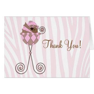 Het roze Bruine Roze Gestreepte Baby shower dankt Kaart