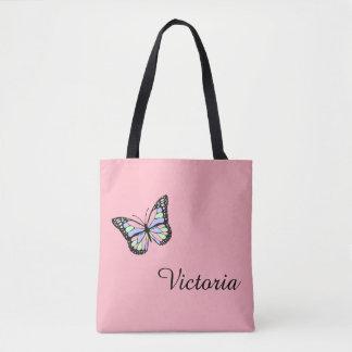 Het Roze Canvas tas van de douane met Vlinder