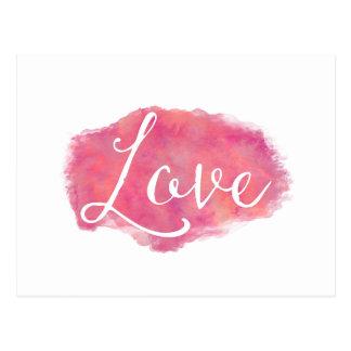 Het roze Citaat van de Waterverf van de Liefde Briefkaart