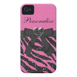 Het roze & de Zwarte schitteren Gestreepte iPhone iPhone 4 Hoesje