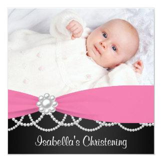 Het roze Doopsel Invi van de Foto van de Meisjes 13,3x13,3 Vierkante Uitnodiging Kaart