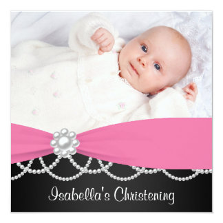 Het roze Doopsel Invi van de Foto van de Meisjes Custom Uitnodging