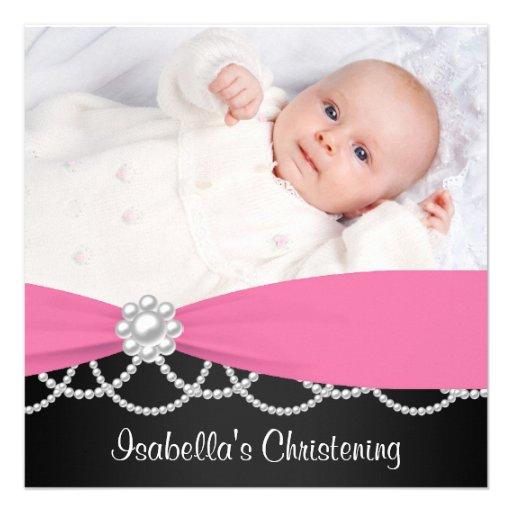 Het roze Doopsel Invi van de Foto van de Meisjes v Custom Uitnodging