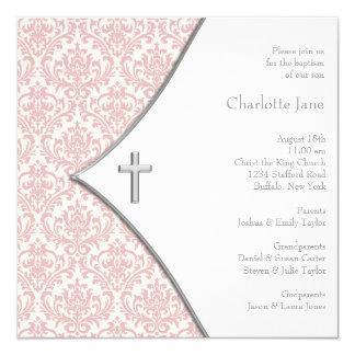 Het roze Doopsel van het Doopsel van de Meisjes 13,3x13,3 Vierkante Uitnodiging Kaart
