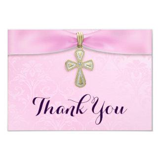 Het roze Doopsel van het Doopsel van Meisjes dankt 8,9x12,7 Uitnodiging Kaart