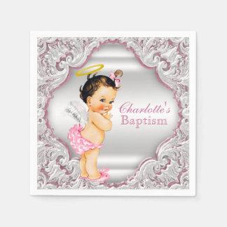 Het roze Doopsel van het Meisje van de Engel Papieren Servetten