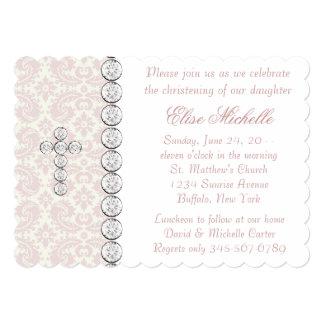 Het roze Doopsel van het Meisje van het Baby van Gepersonaliseerde Uitnodigingen