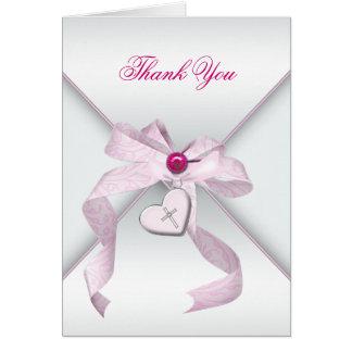 Het roze DwarsDoopsel van het Doopsel dankt u Notitiekaart