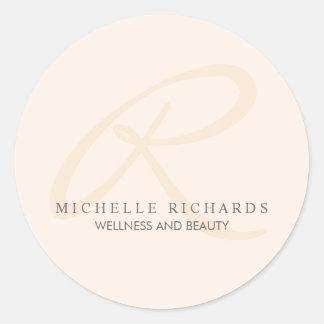 Het Roze Elegante Minimalistische Monogram van het Ronde Sticker