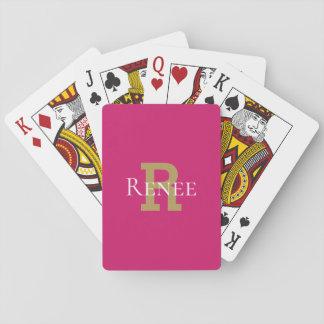Het roze Elegante Trendy Monogram van de Naam van Speelkaarten