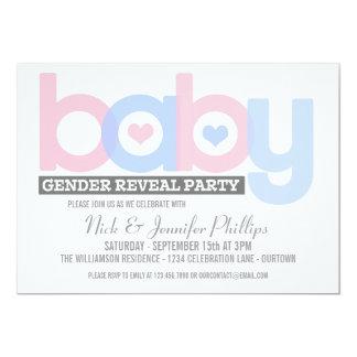 Het roze en Blauwe Geslacht van het Baby openbaart 12,7x17,8 Uitnodiging Kaart