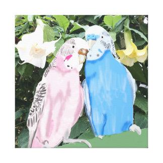 Het roze en Blauwe Kussen Budgies en de Trompetten Canvas Afdrukken