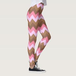 Het roze en Bruine Patroon van de Zigzag Leggings
