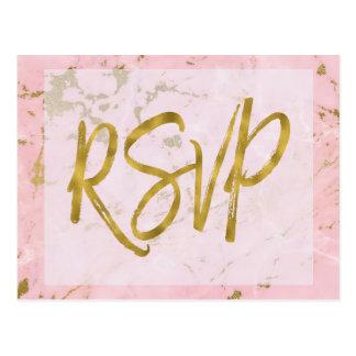 Het roze en Gouden Marmeren Antwoord van de Briefkaart