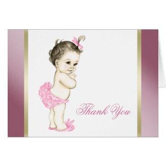 Het roze en Gouden Meisje van het Baby dankt u Briefkaarten 0