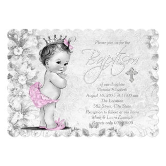 Het Roze en Grijze Doopsel van de schattige 12,7x17,8 Uitnodiging Kaart