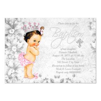 Het Roze en Grijze Doopsel van de vintage Prinses 12,7x17,8 Uitnodiging Kaart