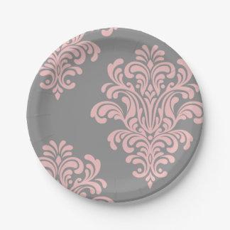 Het roze en Grijze Patroon van het Damast Papieren Bordje