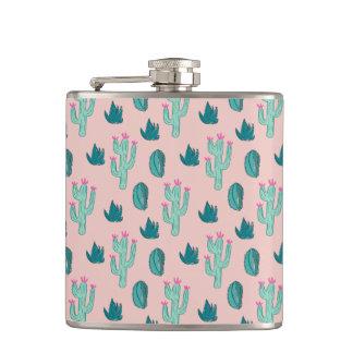 Het roze en Groene Leuke Patroon van de Cactus Heupfles