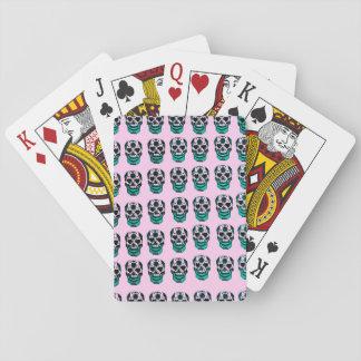 Het roze en Groene patroon van Skuls van de Suiker Pokerkaarten