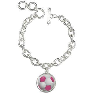 Het Roze en het Wit van de Bal van het Voetbal van Armbanden