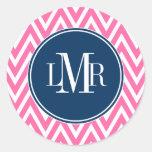 Het roze en Marineblauwe Monogram van Chevrons Ronde Stickers