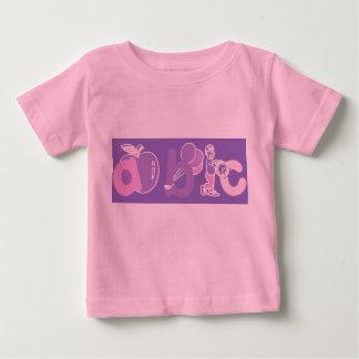 Het roze en Paarse Logo van het Alfabet van ABC Baby T-shirt