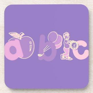 Het roze en Paarse Logo van het Alfabet van ABC vo Bier Onderzetters