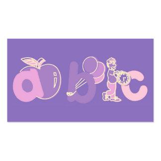 Het roze en Paarse Logo van het Alfabet van ABC vo Visitekaartjes